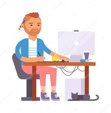Vector Image Designer Artist Designer Boy Vector Character Stock Vector