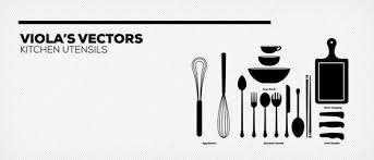 商用可キッチン料理道具の無料シルエットベクター素材27個セット