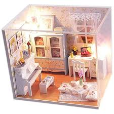 wooden dollhouse miniatures diy house kit with cover and led light tour into