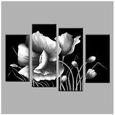 black and white tulip wall art