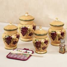 Designer Kitchen Canister Sets Handpainted Grapes Kitchen Canister Set Ceramics Kitchen