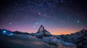 Mountain Peak Stars Sky Night Light ...