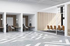 office with cubicles. Office Cubicles In An Office With White And Wooden Walls. There Are Blank  Vertical Pictures