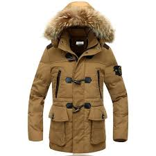 winter 2016 mens clothing fur collar hooded down jacket in goldenrod
