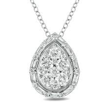 t w composite baguette and round diamond pear shaped pendant in 10k white gold