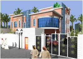 Saudi arabia ,Arabian style Villa 3D Home Front Elevation,        3D