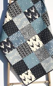 Baby Quilt Boy Deer Southwest Stag Woodland Birch Forest Arrow ... & Baby Quilt Boy Deer Southwest Stag Woodland Birch Forest Arrow Navy Blue  Silver Modern Crib Bedding Toddler Bed Quilt Rustic Nursery Decor Adamdwight.com