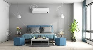 Graues Und Blaues Modernes Schlafzimmer Mit Möbeln Und Klimaanlage
