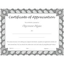 Certificate Of Appreciation Template For Word Award Wording Examples ...