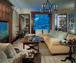 living room with eight foot tall saltwater aquarium
