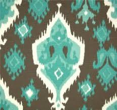 Small Picture Designer Coral Turquoise Blue Ikat Geometric by CottonCircle