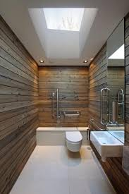 Bold Rustic Bathroom with Skylight