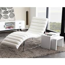 bardotcawh bardot chaise lounge w stainless steel frame in white leather