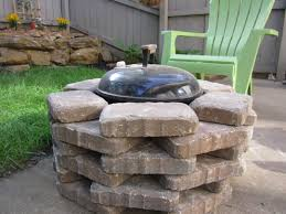 Block Fire Pit Kit Diy Fire Pit We Placed Stone Around Our Simple Weber Grill To