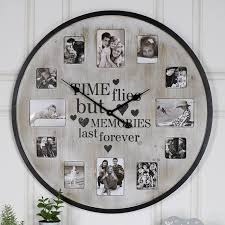 details about extra large rustic cream wall clock with photograph frame family photo display