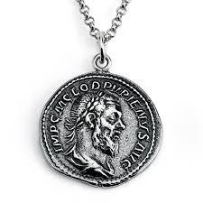 925 sterling silver replica pupienus roman coin pendant necklace