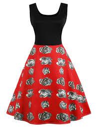 2018 Vintage Cabbage Print Color Block Pin Up Dress Red L In Vintage