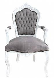 Casa Padrino Barock Esszimmer Stuhl Mit Armlehnen Grauweiß