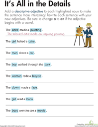 descriptive adjectives it s all in the details worksheet third grade reading writing worksheets descriptive adjectives it s all in the details