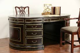 maitland smith signed tooled leather oval library partner desk