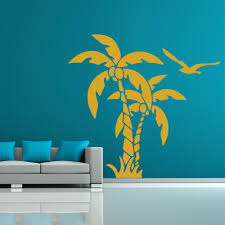 palm tree wall stickers: palm trees and coconuts tropical flowers and trees wall stickers home art decals