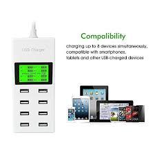 DODORO USB Charger, Portable 8 <b>Multi</b>-<b>Port</b> USB Power Adaptor ...