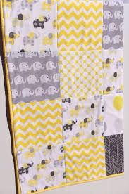 Baby Cot Patchwork Quilt w/ Yellow and Grey Elephant Pattern ... & ... Baby Cot Patchwork Quilt w/ Yellow and Grey Elephant Pattern ... Adamdwight.com
