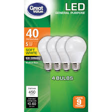 Great Value Led Light Bulbs 5w 40w Equivalent Soft White 4 Count