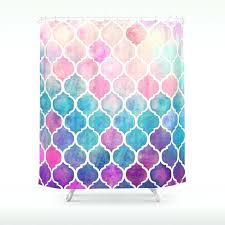 moroccan shower curtain rainbow pastel watercolor pattern shower curtain moroccan tile quatrefoil shower curtain