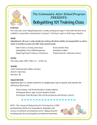 babysitting training class babysitting 101 flyer 3