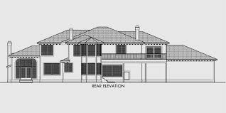 4 car garage house plans. House Rear Elevation View For 10034 Mediterranean Plans, Luxury Dream Kitchen 4 Car Garage Plans