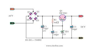 zener diode voltage regulator circuit eleccircuit com simple dc regulator by transistor c1061