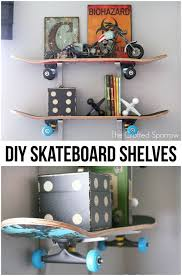 cool shelves for bedrooms. Plain Cool DIY Skateboard Shelves With Cool Shelves For Bedrooms H