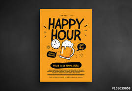Happy Hour Flyer Retro Happy Hour Flyer Layout Buy This Stock Template And