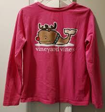 Vineyard Vines Girls Pink Size M 10 12 Holiday Shirt Long