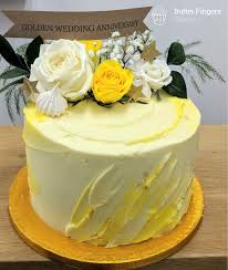Lemon Flavoured Golden Wedding Anniversary Cake Cake