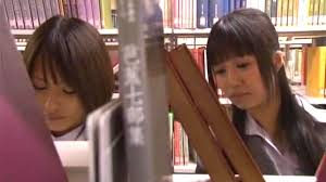 Japanese seduced teen in library lesbian