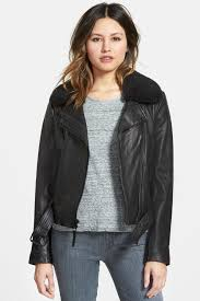 image of michael michael kors lamb shearling collar two tone leather moto jacket