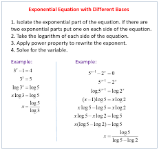 exponential equations with diffe bases