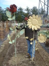 giant tin rose yard stake 74 metal garden flower