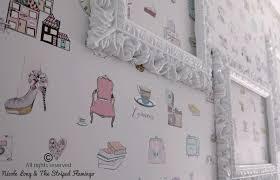 Paris Wallpaper For Bedroom Striped Flamingo Custom Wallpaper
