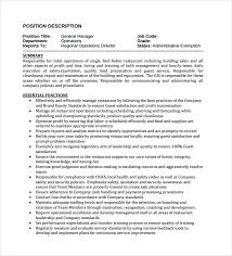 11+ General Manager Job Description Templates – Free Sample, Example ...