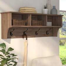 Hanging Coat Rack With Storage Cool Exquisite Coat Racks Hooks Shelves Birch Lane In With Ataa Comfy