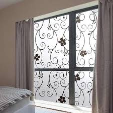 PVC <b>Black</b> Flower Sweet <b>Frosted Privacy</b> Cover <b>Glass Window</b> Door ...