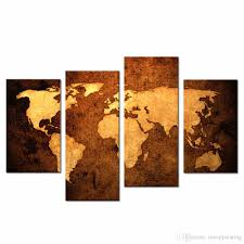 Oil Painting For Living Room Lk488 4 Panel Oil Painting World Map For Home Living Room Bedroom