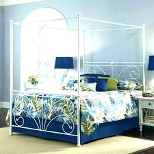 Black Canopy Bed Queen Metal Iron White Frame With Blue Green Cover ...