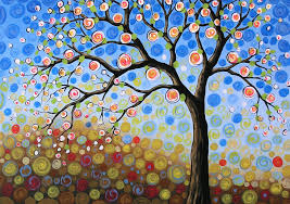 tree painting original abstract landscape tree art painting blue sky mine by