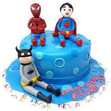 Buy Cake Square Designer Cakes Spiderman Vs Batman Vs Superman Theme