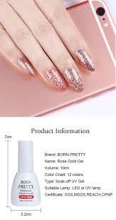 Born Pretty Rose Gold Gel Polish Glitter Soak Off Uv Gel Color Top Coat Long Lasting Diy Lacquer Nail Art Varnish