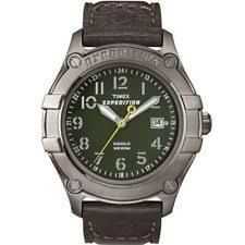mens timex expedition watch timex t49804 men s expedition brown leather watch indiglo date t498049j